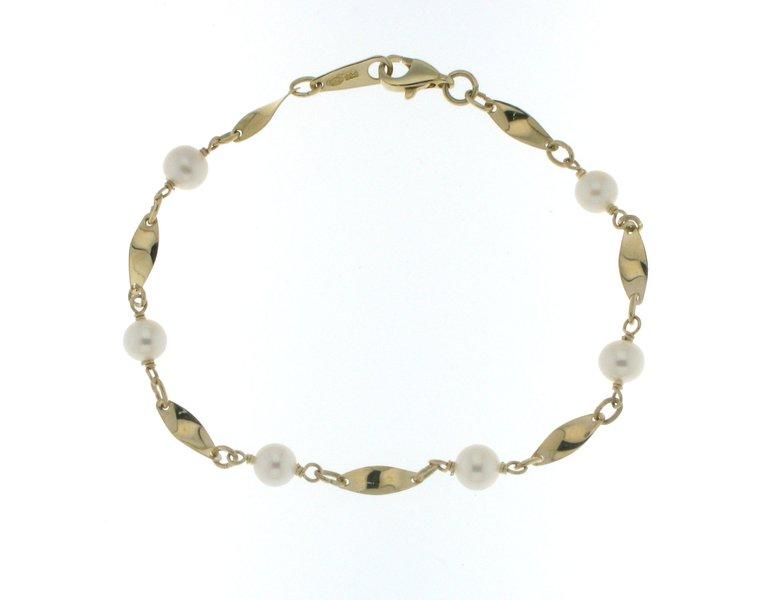 Kultainen rannekoru helmillä M104 - Kellopuoti.fi df87324654