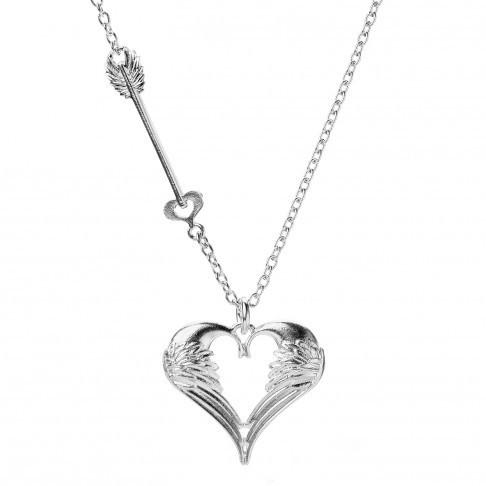 Lumoava Rakkain sydänkaulakoru hopeaa pitkällä ketjulla 79aa14ce7a