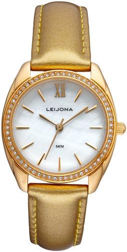 houkutteleva hinta edullinen hinta luistella kengät Leijona naisten kullanvärinen nahkarannekello helmiäistaululla 5120-4518