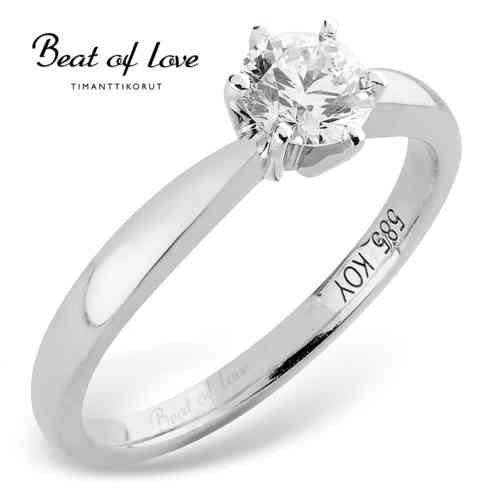 Beat of Love -timanttisormus solitaire 0.40 ct W/SI1