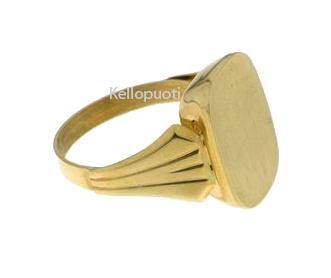 Klingel miesten hopeinen kantasormus keltakullanvärinen