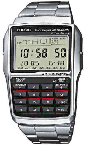 Casio teräs Data Bank rannekello