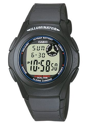 Casio Collection musta peruskello led-valolla F-200W-1AEF