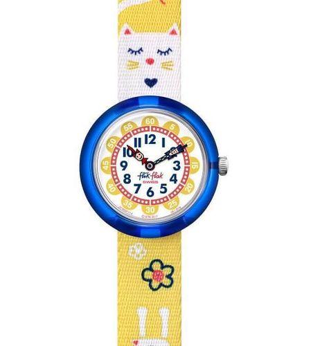 Loikkaava kissa Flik Flak jumping cat keltainen lastenkello ZFBNP114 55509181ad