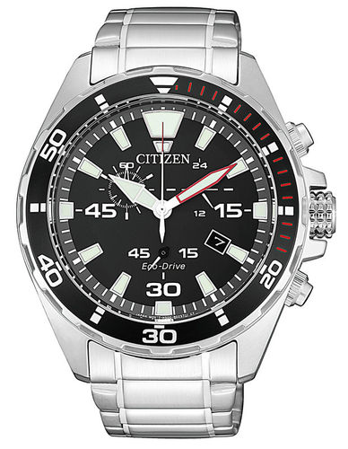 Citizen Eco-Drive teräskello mustalla taululla AT2430-80E