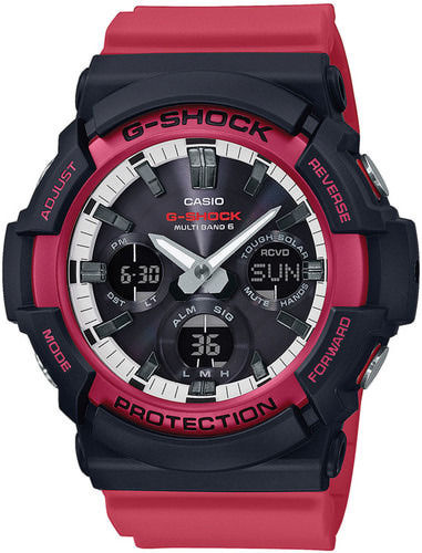 Casio G-Shock Black & Red musta punainen rannekello Multiband 6 GAW-100RB-1AER