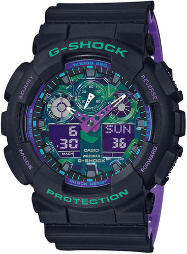 Casio G-Shock 90s color accent musta-lila rannekello GA-100BL-1AER